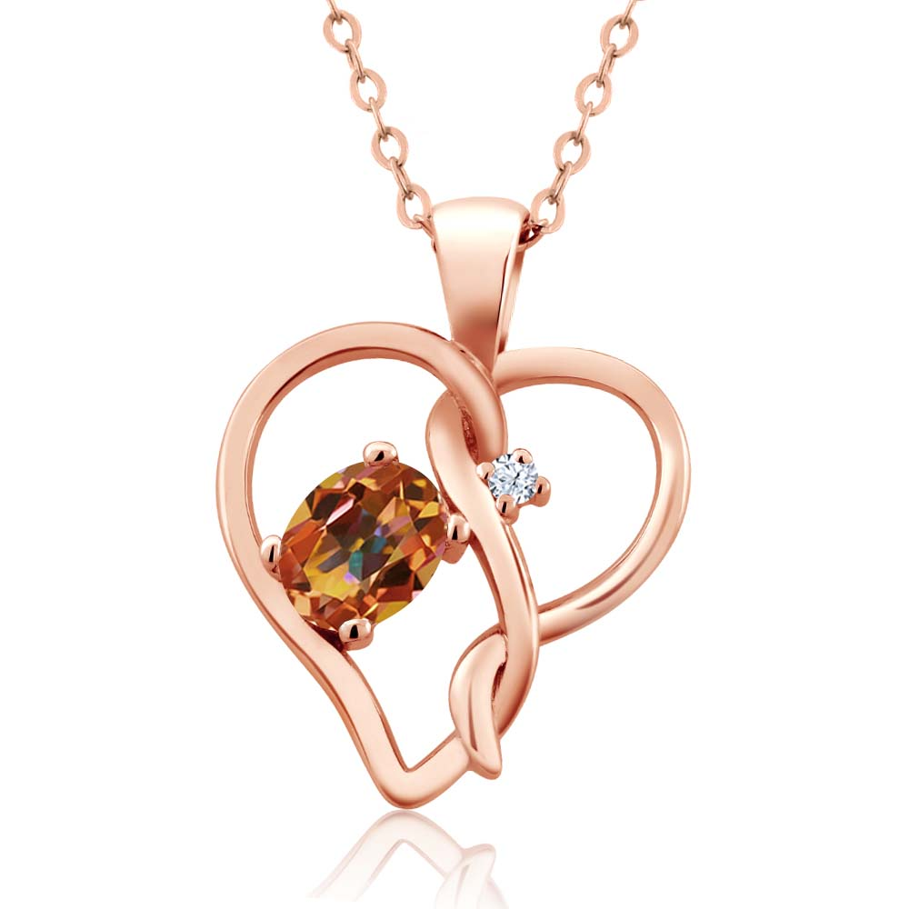 0.56 Ct Ecstasy Mystic Topaz White Topaz Rose Gold Plated Silver Pendant