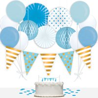 Way to Celebrate Boy Baby Shower 36-Piece Decorations Kit, Blue & Gold