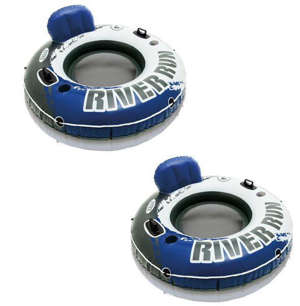 Intex River Run Inflatable Floating Tube Water Raft for Lake River Pool (2 Pack) by Intex