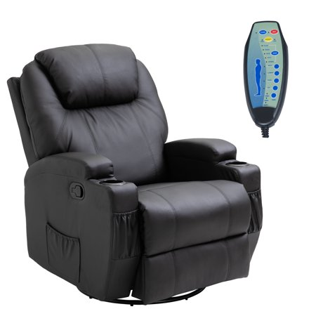 HomCom Faux Leather Heated Massage Recliner Chair with ...