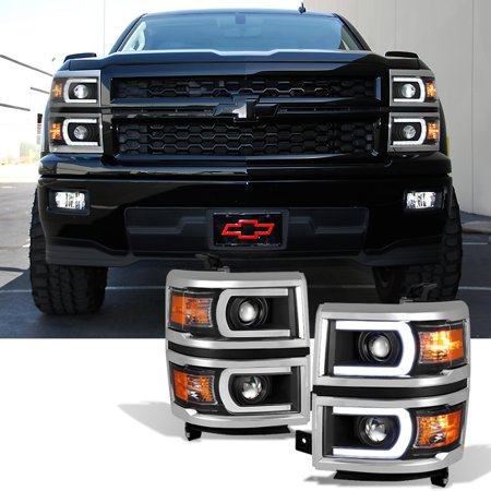 Fit 2014 2015 Silverado 1500 Black Led Drl U Neon Bar