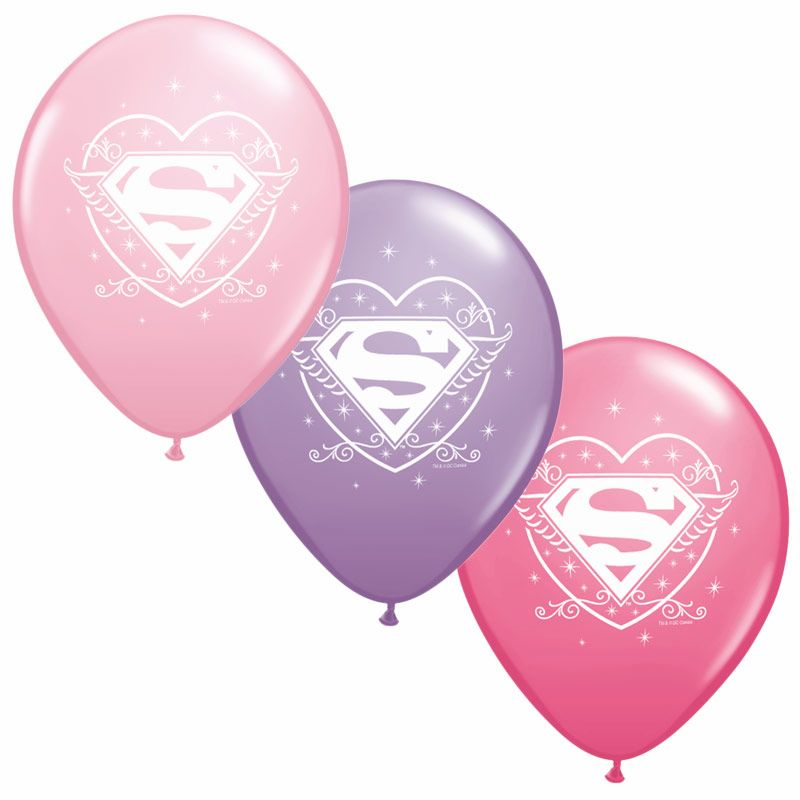 "Supergirl 12"" Latex Balloons (6 Pack) - Party Supplies"