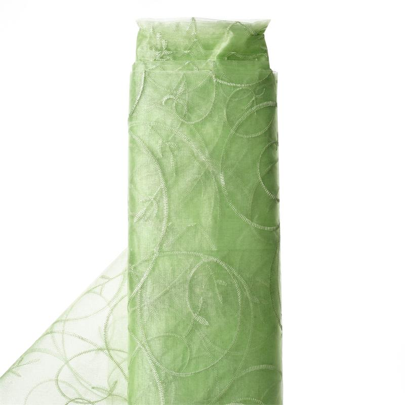 "54"" x 10 yards Embroidered Organza Fabric Bridal Bolt - Apple Green"