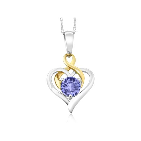 - 10K Two-Tone Gold 0.46 Ct Round Blue Tanzanite Heart Pendant With Chain
