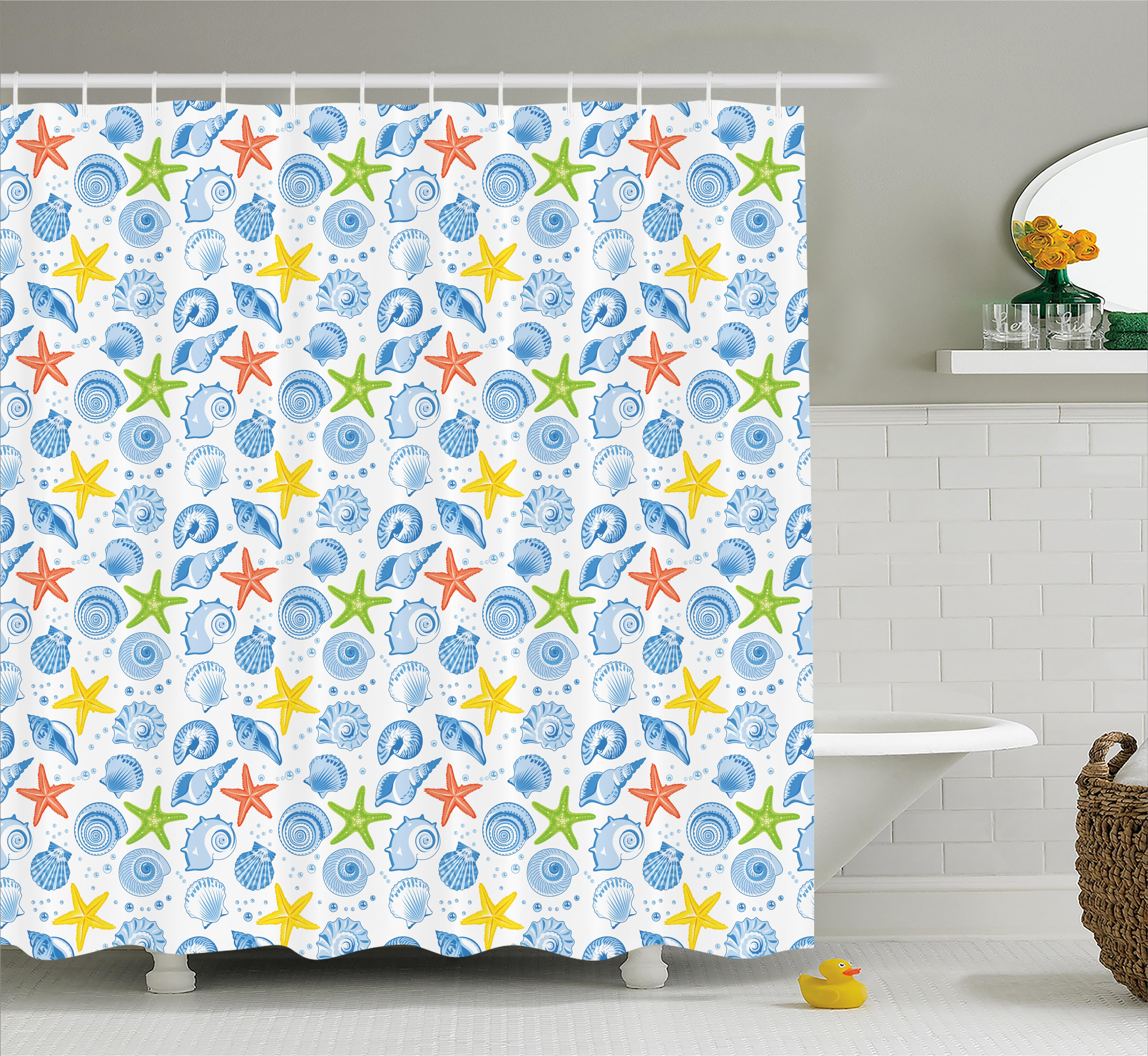 Yellow Submarine Shower Curtain Coral Reef Print for Bathroom