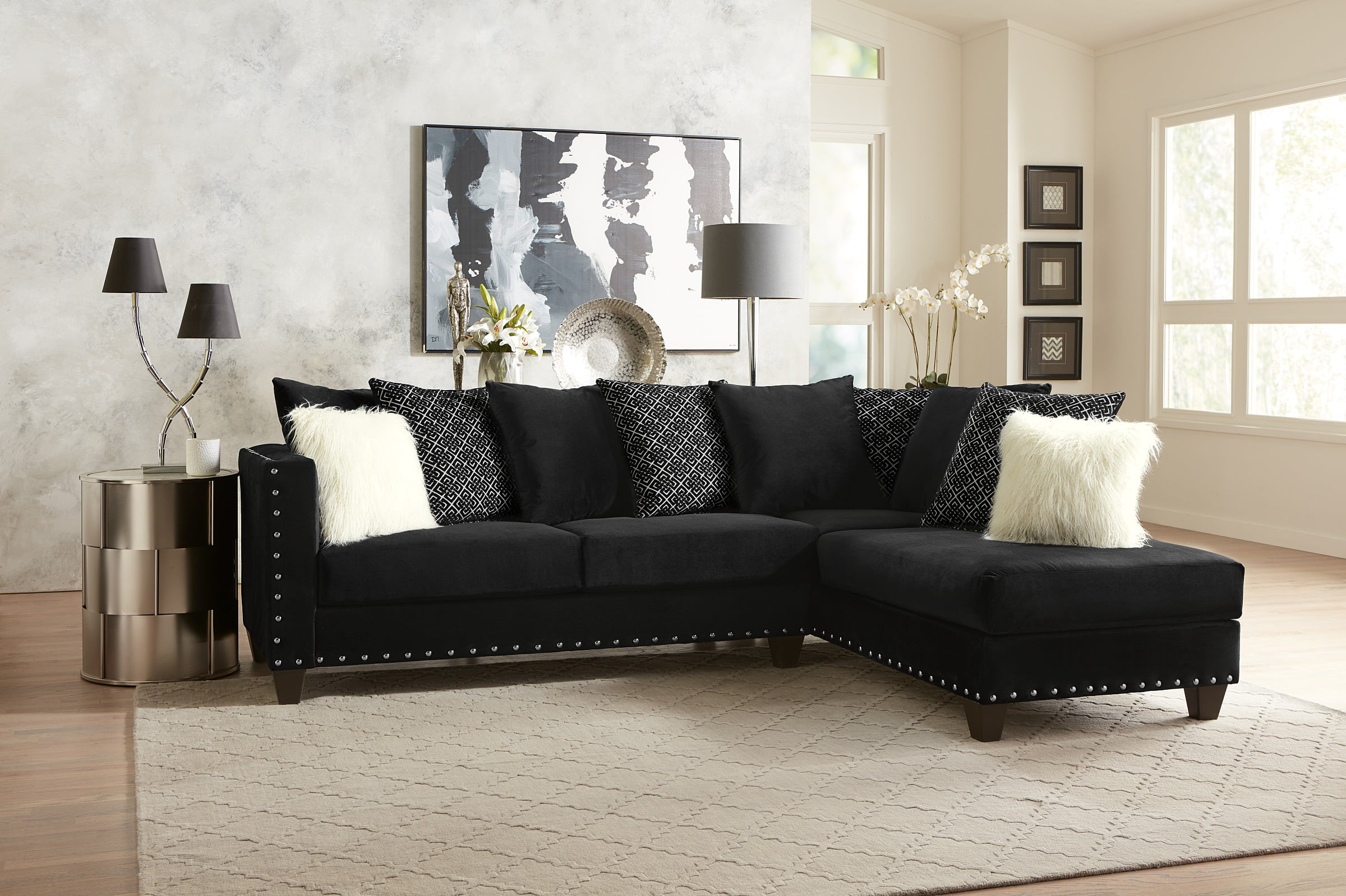 Living Room Modern Classic Black Fabric Sectional Sofa 2pc Set Cushion  Comfort Couch Sofa Chaise