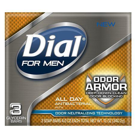 Dial for Men Antibacterial Soap Bars Odor Armor 4.0 oz.(pack of 1)