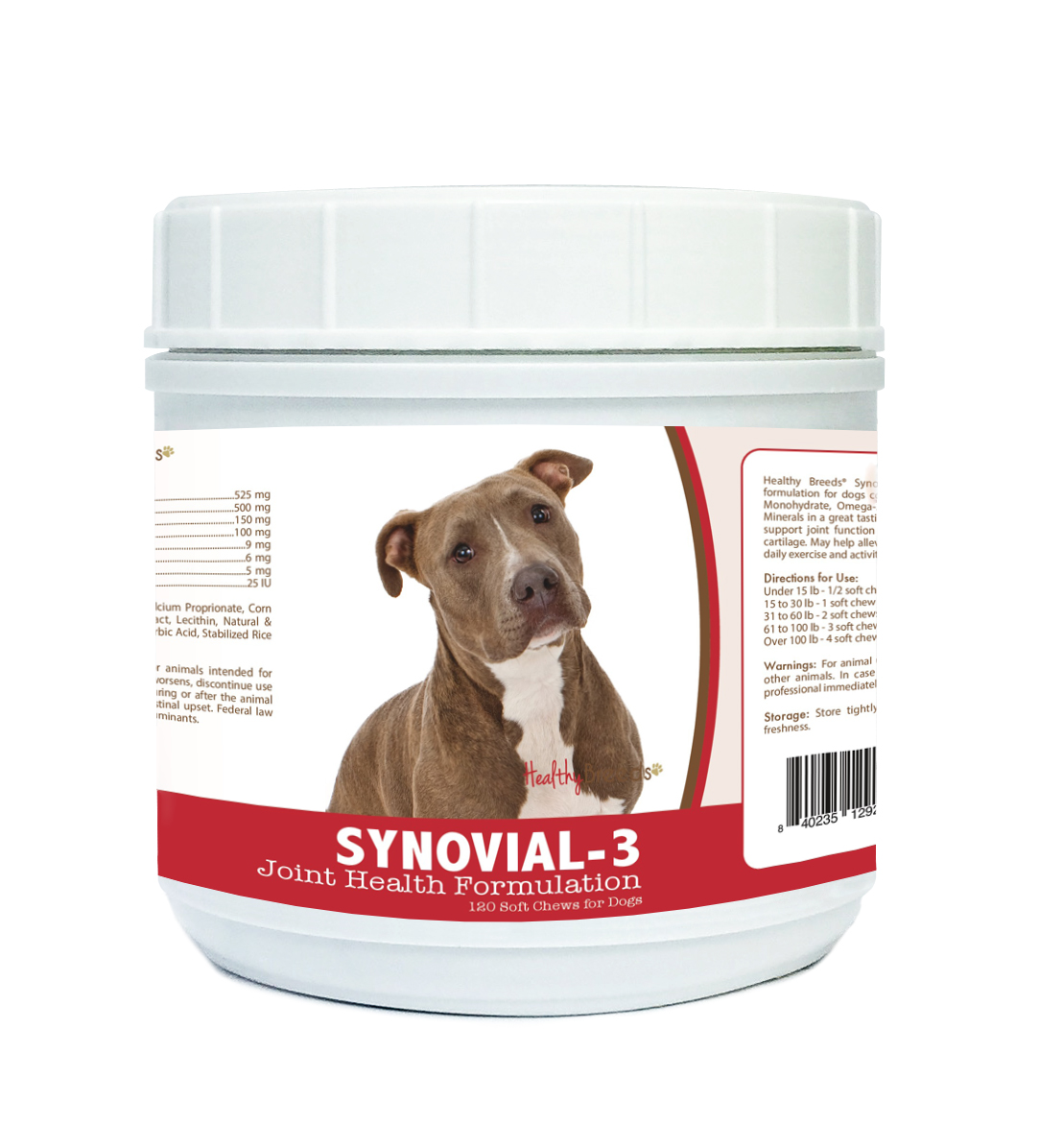Healthy Breeds Synovial-3 Dog Hip and Joint Supplement for Pit Bull, Glucosamine Omega 3 Vitamin C & E Support, 120 Soft Chew Treats