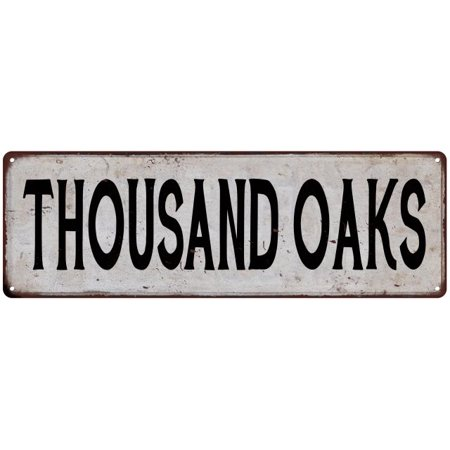 Party City Thousand Oaks (THOUSAND OAKS Vintage Look Rustic Metal Sign Chic City State Retro)