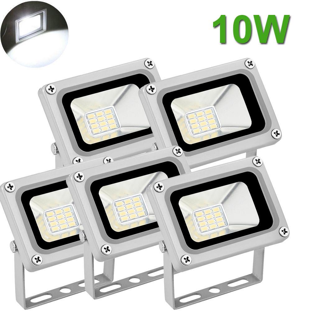 5X 10W LED Flood Light Outdoor Garden Landscape Lamp Waterproof Cool White 12V