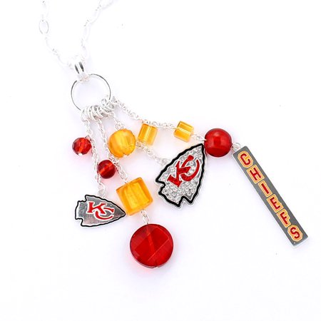 City Necklaces (NFL Football Kansas City Chiefs Cluster Crystal Logo Necklace in Red and)