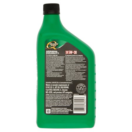 Quaker state advanced durability sae 5w 30 conventional for Quaker state advanced durability motor oil review