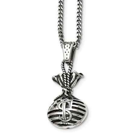 Diamond Monkey (Mia Diamonds Stainless Steel Polished and Antiqued Money Bag Necklace Chain)