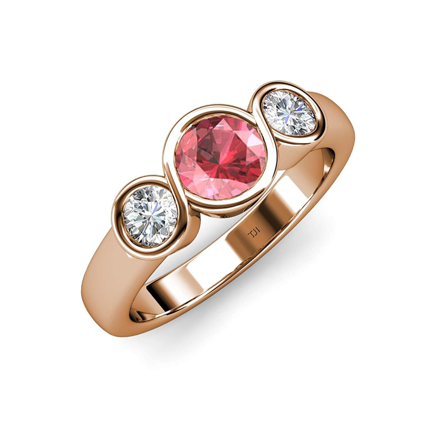 Pink Tourmaline and Diamond (SI2, G) Infinity Three Stone Ring 1.85 ct tw in 14K Rose Gold.size 5.5 by TriJewels