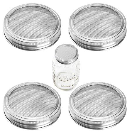 Jar lids - Uarter 4 Pack Mason Jar Lids Stainless Steel Strainer Sprouting Jar Lid Set Rustproof Canning Jar Lids for Wide Mouth Jars for making organic sprout seeds