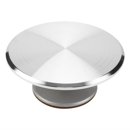 HERCHRT Trim-N-Turn Ultra 12  Revolving Cake Decorating Turntable - Cake Decorating Stand for Cakes and Desserts, Aluminum Alloy Contruction with Smooth Bearing and Non-Slipping Silicone Bottom