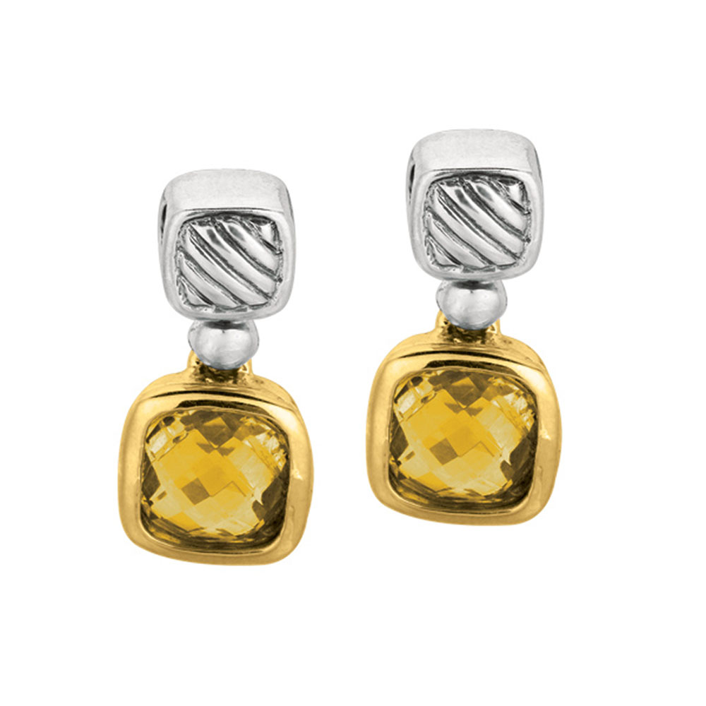 Phillip Gavriel 18k Gold & Sterling Silver Citrine Earrings