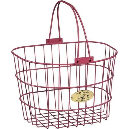 Nantucket Bicycle Basket Co. Surfside Adult Wire D-Shape Basket, Pink (Bicycle Basket Pink)