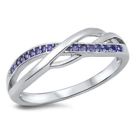 CHOOSE YOUR COLOR Infinity Knot Simulated Amethyst Promise Ring New .925 Sterling Silver Band (Amethyst Knot)