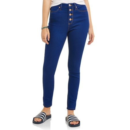 Worn Jeans Button Fly Jeans - Cherry Blossom Junior's Classic High Rise Exposed Button Skinny Jeans