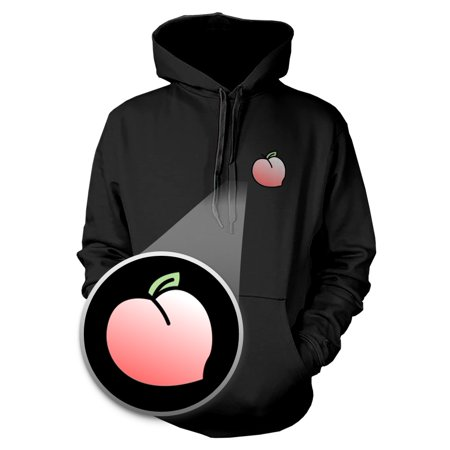 Peach Hoodie Pocket Print Warm Hooded Sweatshirt Graphic Sweater