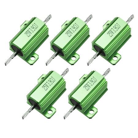 25W 3.9 Ohm Aluminium Housing Chassis Mount Wirewound Power Resistors Green 5pcs