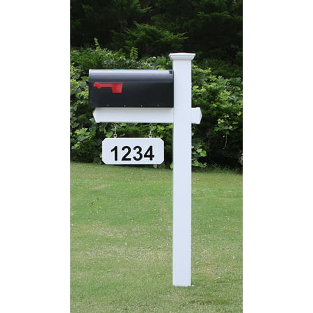 The Harrison Mailbox System with White Vinyl Post Combo, Stand, and Black Mailbox Included