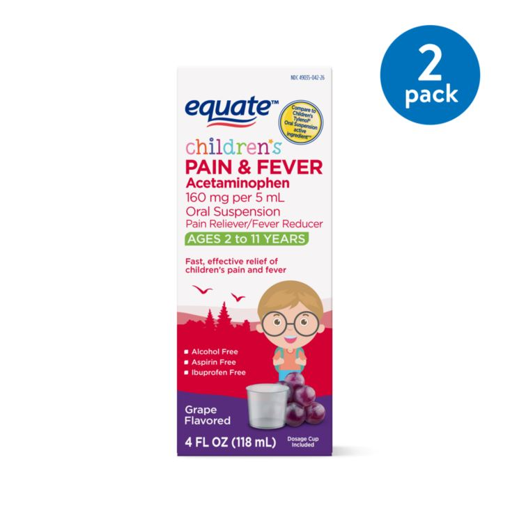(2 Pack) Equate Childrens Acetaminophen Grape Suspension, 160 mg, 4 Oz