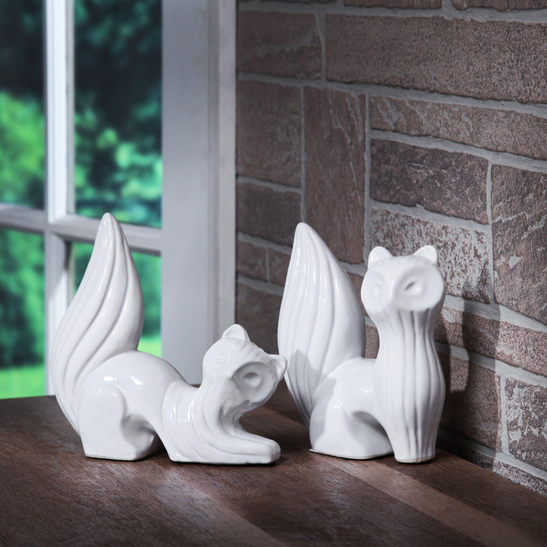 Mainstays Decorative Table Top Ceramic Fox Statue, White