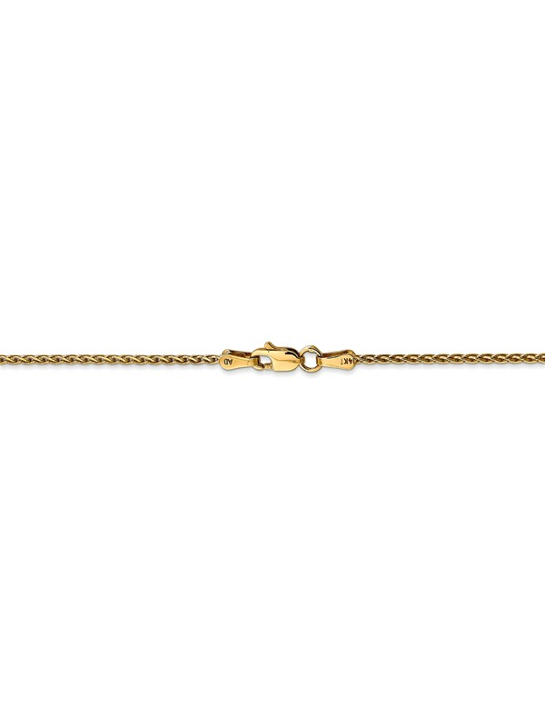 Real 14kt White Gold 1.2mm Parisian Wheat Chain; 16 inch