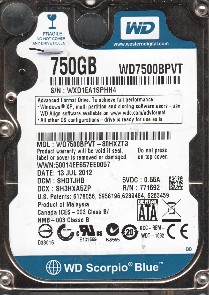 WD7500BPVT-80HXZT3, DCM SHOTJHB, Western Digital 750GB SATA 2.5 Hard Drive by WD