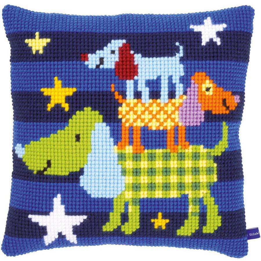 "Funny Dogs Cushion Cross Stitch Kit, 15.75"" x 15.75"""
