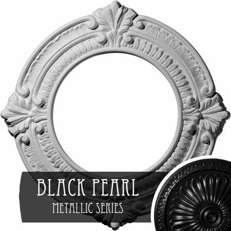11 3 8 OD x 2 P Acanthus Ceiling Medallion Hand Painted Black Pearl