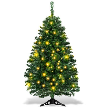 Costway 4Ft Pre-Lit Charlie Pine Christmas Tree Plastic Led Lights ()