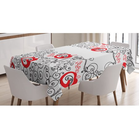 Red And Black Tablecloth Minimalist Home Decor Themed Sketchy Birds Swirls Le Shapes