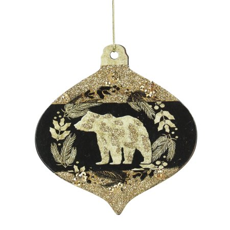 "Beer Christmas Ornament - Kurt S. Adler 4"" Bear Silhouette Onion Drop Christmas Ornament - Gold/Black"