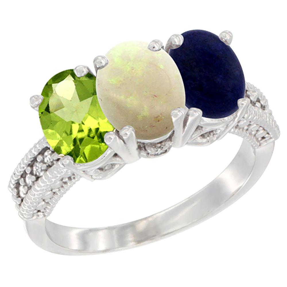 10K White Gold Natural Peridot, Opal & Lapis Ring 3-Stone Oval 7x5 mm Diamond Accent, sizes 5 - 10