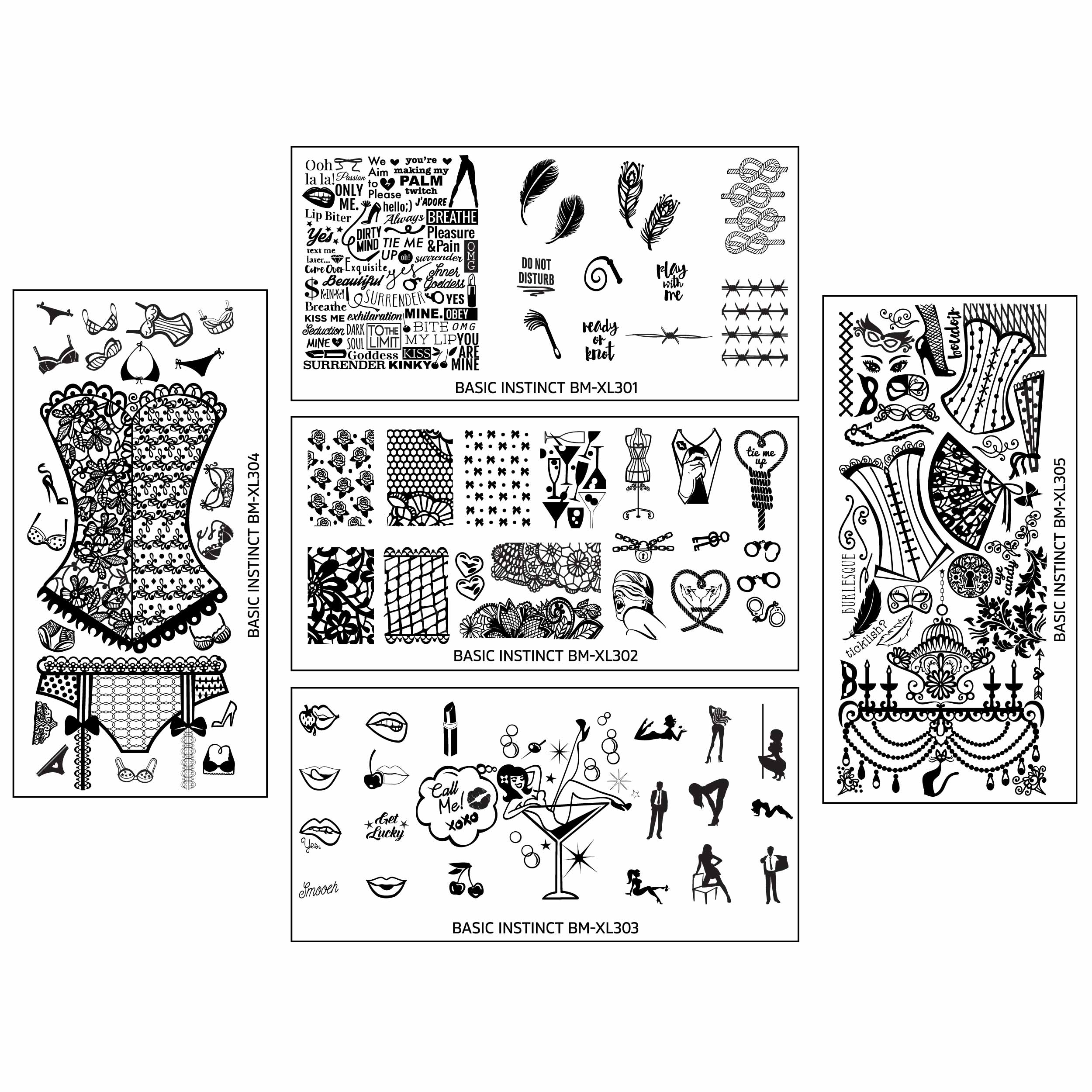 Bundle Monster Naughty XL Nail Art Stamping Plates - Basic Instinct Collection