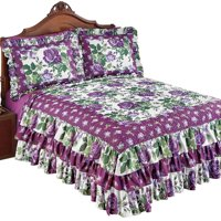 Roseland Ruffled Bedspread with Purple Roses and Fresh Green Floral Pattern