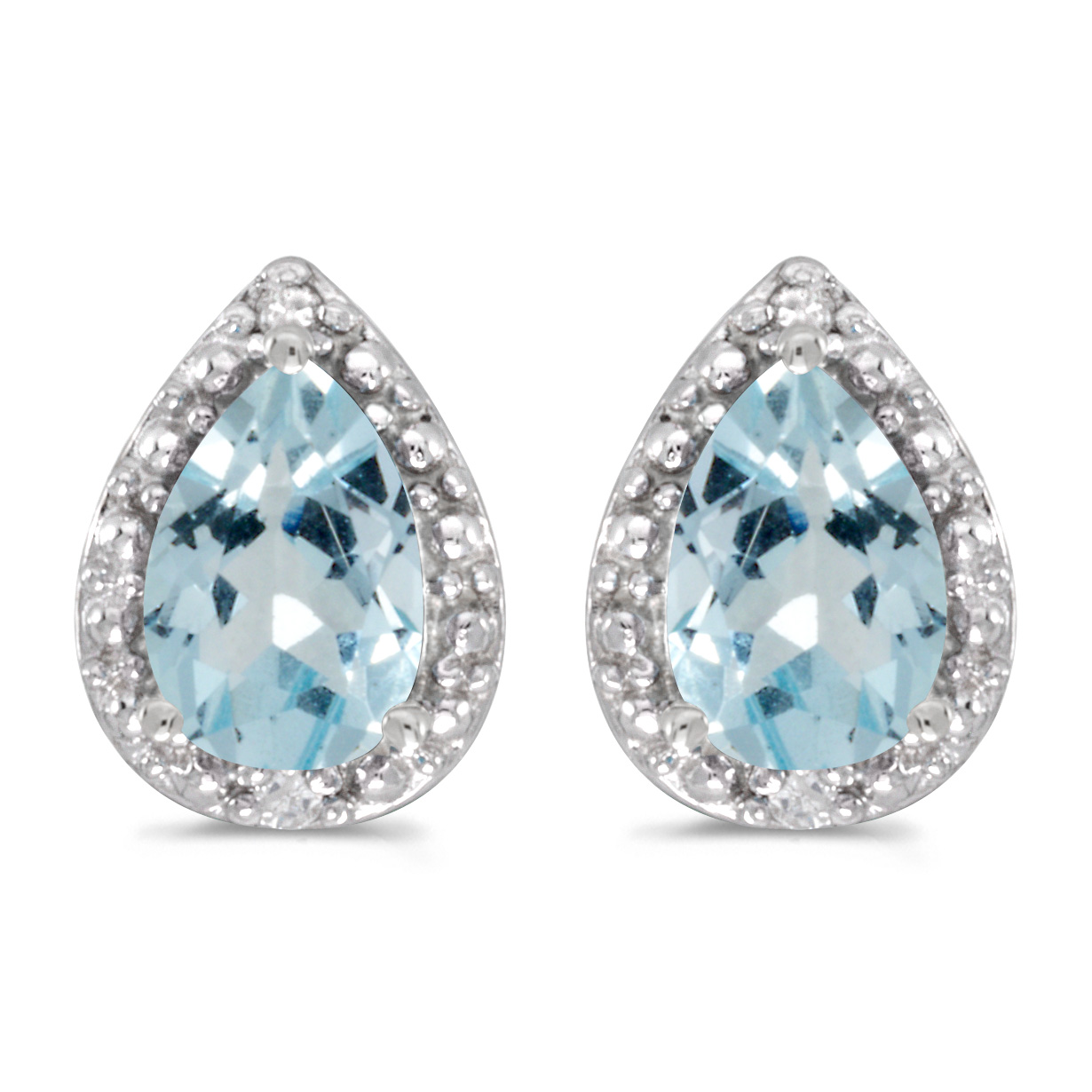 14k White Gold Pear Aquamarine And Diamond Earrings by