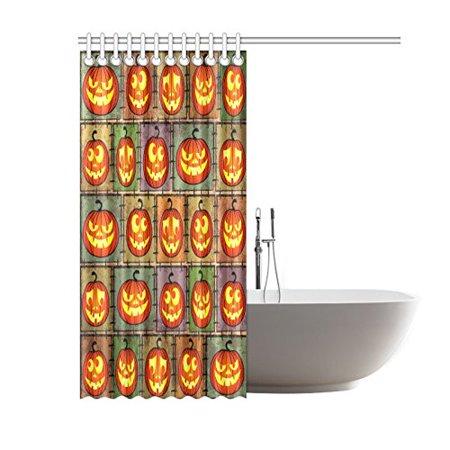 GCKG Halloween Shabby Funny Pumpkin Shower Curtain, Jack Lantern Polyester Fabric Shower Curtain Bathroom Sets 60x72 Inches - image 1 of 3