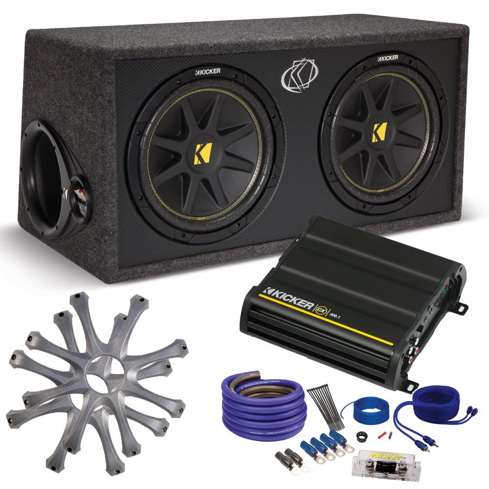 "Kicker Comp Dual 12"" package with Kicker CX300.1 300 watt monoblock, grilles, and wiring kit"