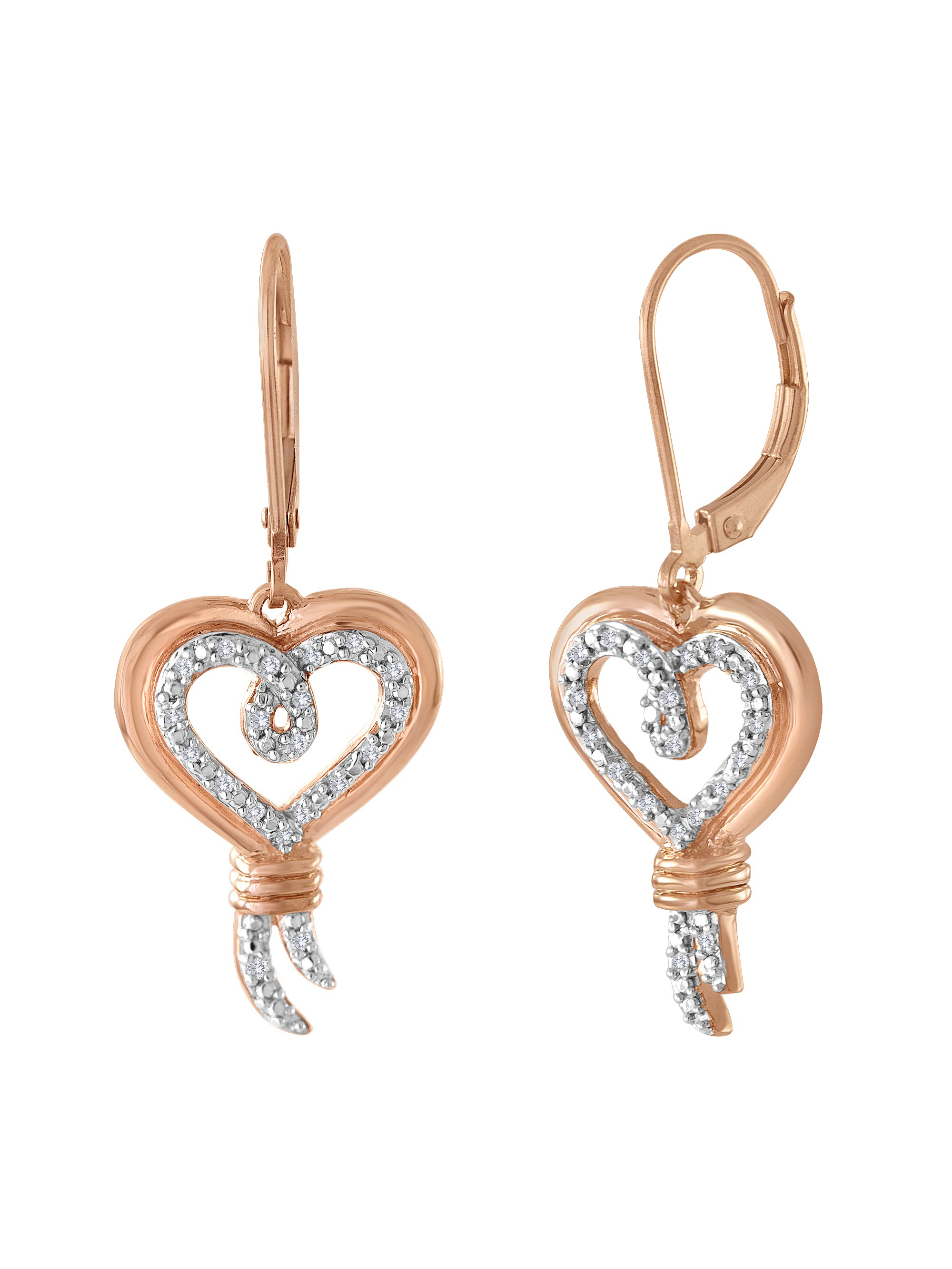 Knots of Love 14kt Rose Gold over Sterling Silver 1/10 Carat T.W. Diamond Earring