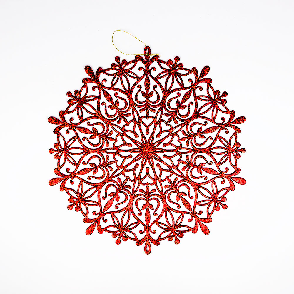 "14.5"" Red Glitter Round Snowflake Hanging Christmas Holiday Decoration"