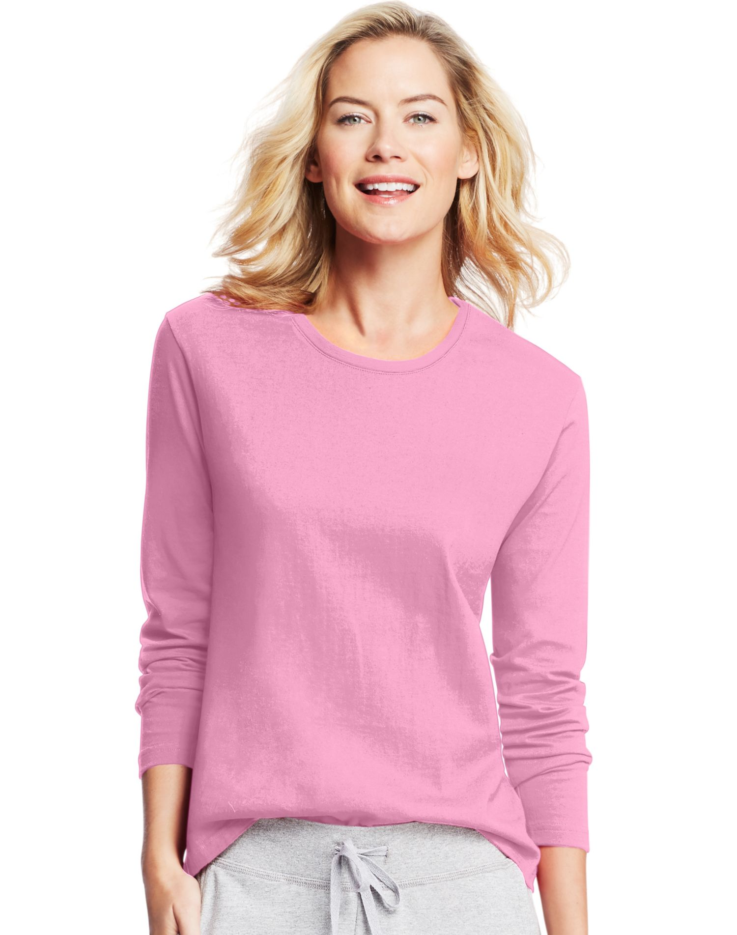aa072b68011 Hanes Women`s Long-Sleeve Crewneck T-Shirt