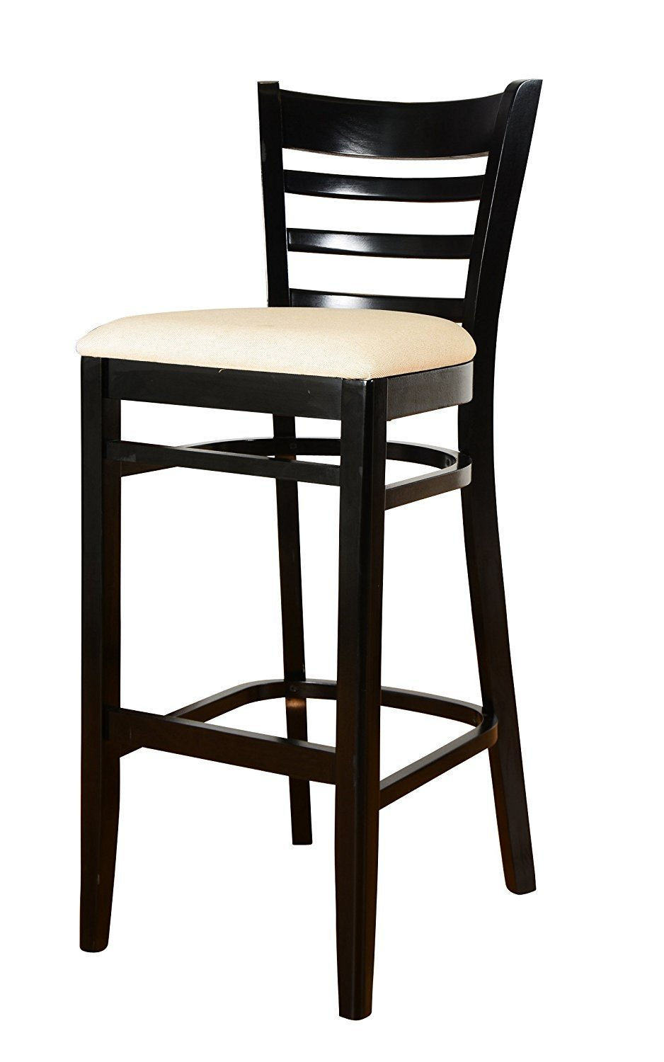 Beechwood Mountain BSD-5B-B Solid Beech Wood Bar Stool in Black for Kitchen and dining by Beechwood Mountain LLC.