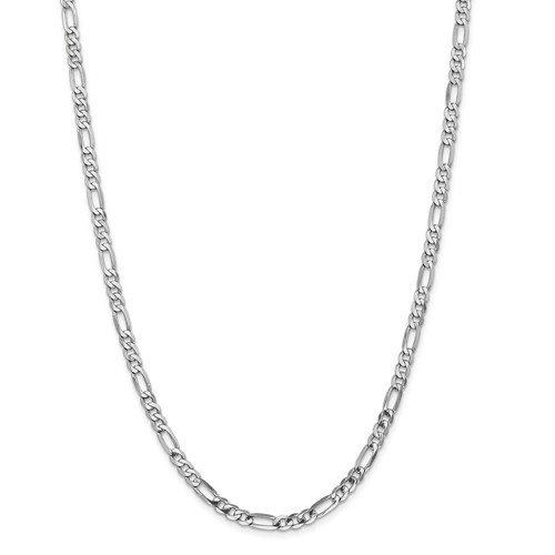14k White Gold 18in 5.0mm Flat Figaro Necklace Chain by Jewelrypot