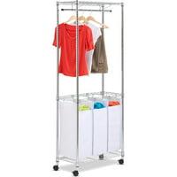 Honey-Can-Do SRT-01154 Triple-Sorter Urban Rolling Laundry Center (Chrome)