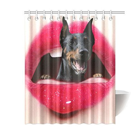 BSDHOME Red Lips Dog Bathroom Waterproof Fabric Shower Curtain 66x72 inches - image 1 de 2