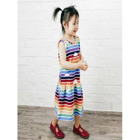 Toddler Baby Girls Dress Cartoon Dinosaur Striped Print 3D Dorsal Fin Outfits](Dinosaur Fancy Dress Ideas)